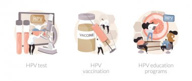 Human papillomavirus prevention abstract concept vector illustration set. HPV test, vaccination and education programs, cervical cancer immunization program, virus information abstract metaphor. icon