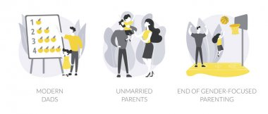 Parenting roles abstract concept vector illustration set. Modern dads, unmarried parents, end of gender-focused parenting, gender equality, active family, partners living together abstract metaphor. icon