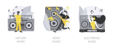 Music preference abstract concept vector illustration set. Hip-hop music, rock and electronic, night club party, outdoor festival, rave culture, DJ set, performance online abstract metaphor. icon