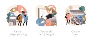 Family budget planning abstract concept vector illustration set. Anti-crisis family budget, garage sale, economic decision, family income, budget saving, flea market, second hand abstract metaphor. icon