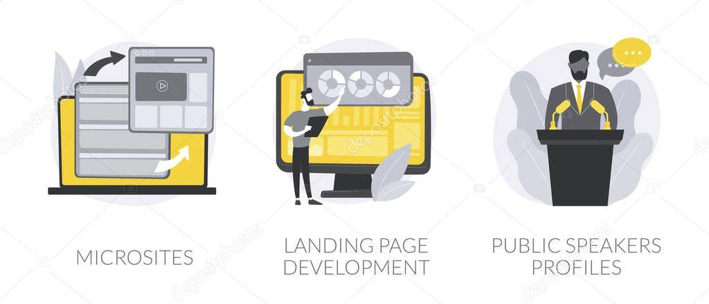 Web development service abstract concept vector illustration set icon