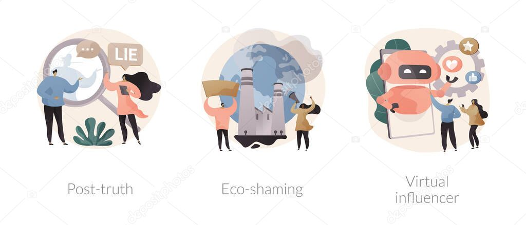 Media influence abstract concept vector illustration set icon
