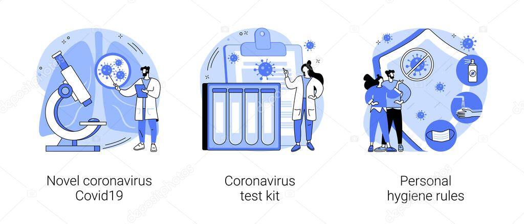 Coronavirus disease outbreak abstract concept vector illustration set icon