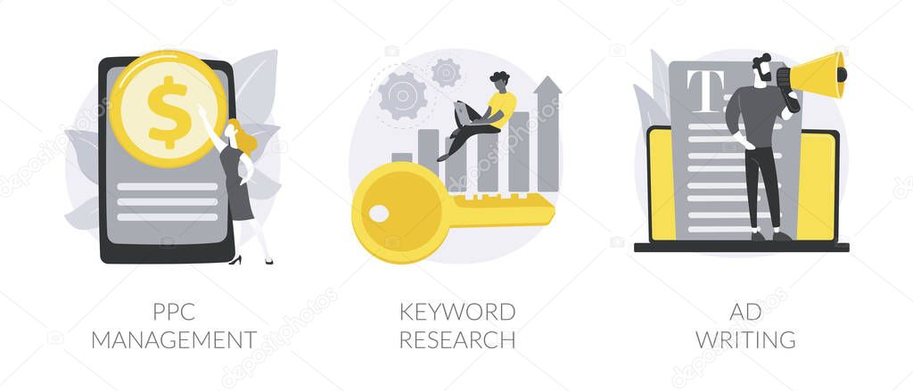 Internet marketing abstract concept vector illustration set icon