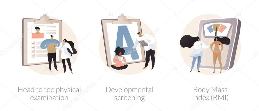 Health check up abstract concept vector illustration set icon