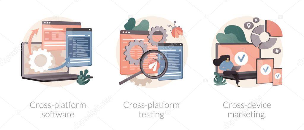 Multi platform framework abstract concept vector illustration set icon