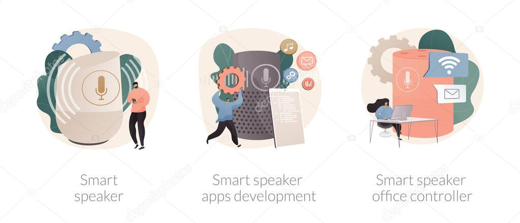 Internet of things abstract concept vector illustration set icon
