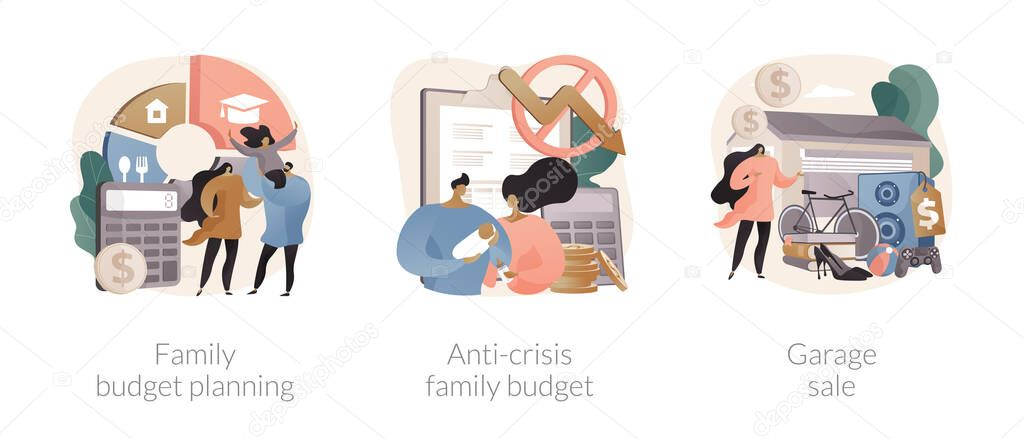 Family budget planning abstract concept vector illustration set icon