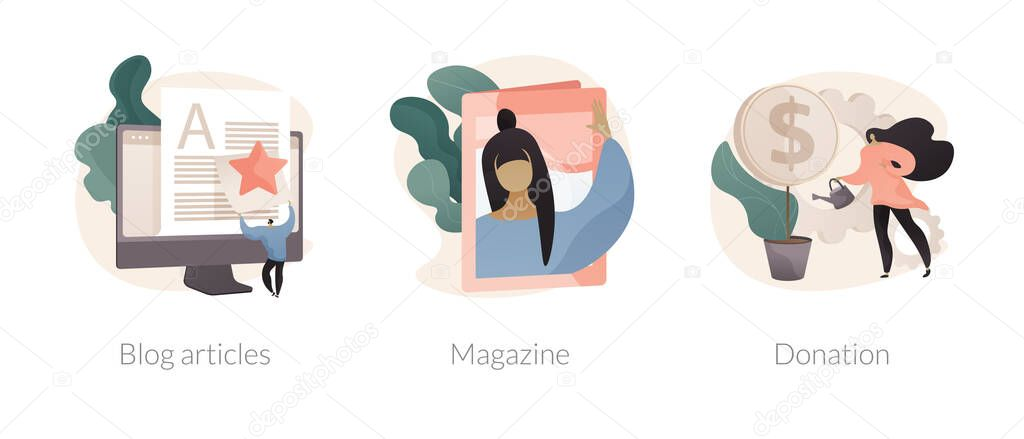 Website tabs abstract concept vector illustration set icon