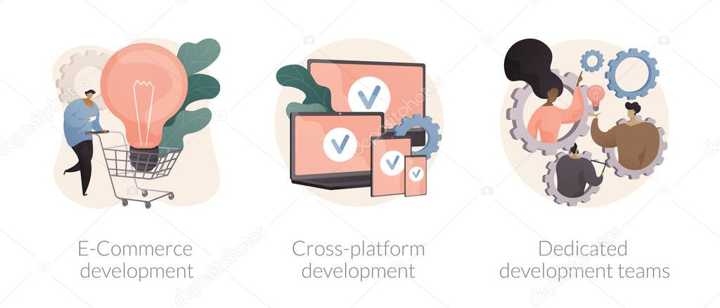 Remote developers team abstract concept vector illustration set icon
