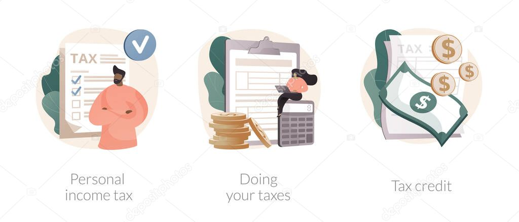Years tax bill abstract concept vector illustration set icon