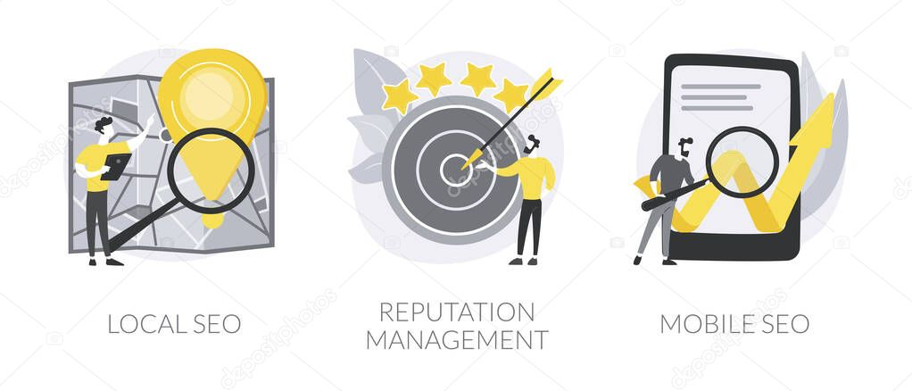 Search engine marketing abstract concept vector illustration set icon