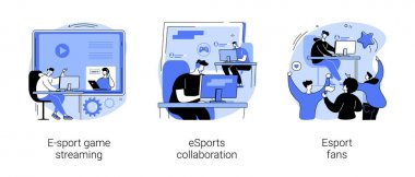 Video game show abstract concept vector illustration set. E-sport game streaming, eSports collaboration, fan club and community, computer game, champion league, global entertainment abstract metaphor. icon