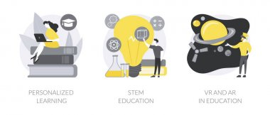 Modern learning abstract concept vector illustration set. Personalized learning, STEM education, VR and AR in education, technology class, smart children, digital device abstract metaphor. icon