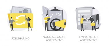 Working terms abstract concept vector illustration set. Job sharing, nondisclosure agreement, employment agreement, part time job, confidential information, financial relations abstract metaphor. icon