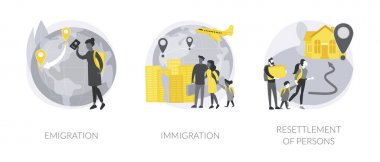 Foreign residence abstract concept vector illustration set. Emigration and immigration, resettlement of persons, refugee camp, residence permit, working visa, boarding control abstract metaphor. icon