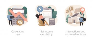 Accountancy service abstract concept vector illustration set. Calculating loss, net income calculating, international and non-resident taxes, profit estimation, net income formula abstract metaphor. icon