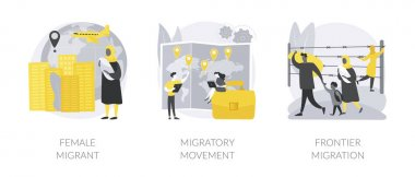 Human migration abstract concept vector illustration set. Female migrant, migratory movement, frontier migration services, international marriage, passport and documents, crisis abstract metaphor. icon
