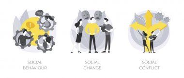Social activity abstract concept vector illustration set. Social behaviour, public demonstration, collective protest, social conflict, school bullying, youth abuse, gang fighting abstract metaphor. icon