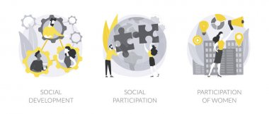 Social skills competence abstract concept vector illustration set. Social development and participation, women role in society and politics, gender equality rights, volunteering abstract metaphor. icon