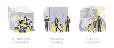 Leaving a country abstract concept vector illustration set. International migrants, border migration control, forced displacement, refugee group, check documents, application form abstract metaphor. icon