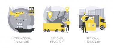 Global logistics abstract concept vector illustration set. International transport, national and regional transport, air cargo, container sheep, car driver, ticket office abstract metaphor. icon