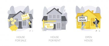 Real estate agent service abstract concept vector illustration set. House for sale and for rent, open house, best deal, booking, residential and commercial property, mortgage broker abstract metaphor. icon