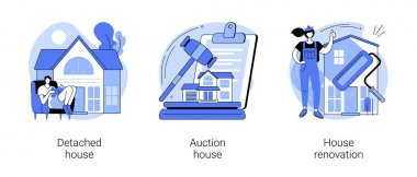 Buy family home abstract concept vector illustration set. Detached and auction house, house renovation, residential and commercial property remodeling, house listing, design project abstract metaphor. icon