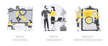 Sexual behavior abstract concept vector illustration set. Sexual harassment and sexually transmitted diseases, sex education, abuse and assault, insecure contact, labor relationship abstract metaphor. icon