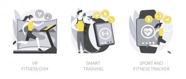 Smart personal training technologies abstract concept vector illustration set. VR fitness gym, smart experience, sport and fitness tracker, fit coaching application, health monitor abstract metaphor. icon