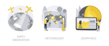 Planetary science abstract concept vector illustration set. Earth observation, meteorology and geophysics, satellite service, met station, weather prediction, space engineering abstract metaphor. icon