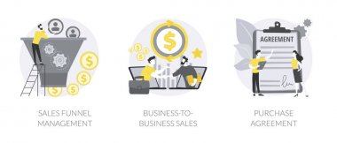 Business deal abstract concept vector illustration set. Sales funnel management, business-to-business commerce, in-app purchase agreement, marketing software, lead conversion abstract metaphor. icon