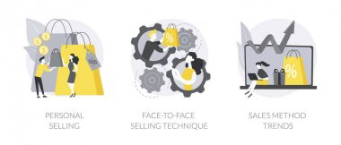 Salesman job abstract concept vector illustration set. Personalized selling, face-to-face sales strategy, sales growth, personal discount, customer service, retail shop happy client abstract metaphor. icon