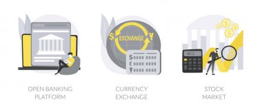 Financial system abstract concept vector illustration set. Open banking platform, currency exchange, stock market index, forex broker, digital transformation, global investment abstract metaphor. icon