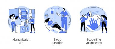 Community help abstract concept vector illustration set. Humanitarian aid, blood donation, supporting volunteering, transfusion center, blood bank, healthcare assistance, nonprofit abstract metaphor. icon
