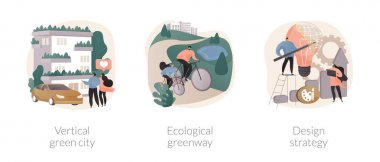 Environmental urban solutions abstract concept vector illustration set. Vertical green city, ecological greenway, design strategy, space-saving eco solution, landscape ecology abstract metaphor. icon