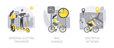 Urban transportation abstract concept vector illustration set. Personal electric transport, bike sharing application, cycling path network, city map, eco-friendly traffic abstract metaphor. icon