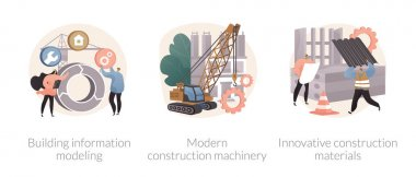 Construction technology innovation abstract concept vector illustration set. Building information modeling, modern construction machinery, new construction material, heavy equipment abstract metaphor. icon
