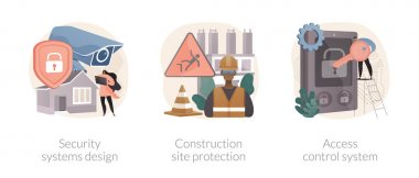 Construction security services abstract concept vector illustration set. Security systems design, construction site protection, authorized access control system, video surveillance abstract metaphor. icon