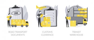 International transportation abstract concept vector illustration set. Road transport documents, customs clearance, transit warehouse, shipping terminal, import and export, CMR abstract metaphor. icon