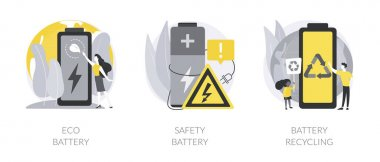 Eco charging solution abstract concept vector illustration set. Eco battery, smartphone battery safe use and recycling, energy storage technology, toxic waste, rechargeable power abstract metaphor. icon