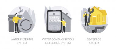 House utilities abstract concept vector illustration set. Water filtering system, contamination detection, sewerage wastewater collection, septic system, smart home sensor abstract metaphor. icon