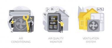 Smart home components abstract concept vector illustration set. Air conditioning, air quality monitor, ventilation system, airing and cooling system, energy saving solution abstract metaphor. icon