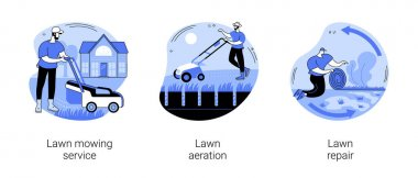 Turf maintenance abstract concept vector illustration set. Lawn mowing service, aeration and repair, gardening, grass fertilization, remove dandelion, thatch and moss, overseeding abstract metaphor. icon