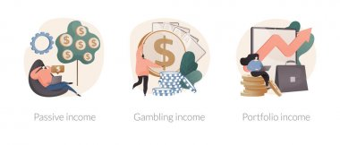 Investing savings abstract concept vector illustration set. Passive income, gambling winning, investment portfolio, dividends and property profit, online casino, cash flow abstract metaphor. icon