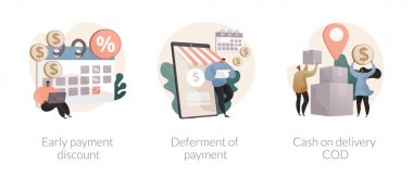 Payment terms abstract concept vector illustration set. Early payment discount, deferment of student loan dept, cash on delivery, credit score, customer loyalty, sales invoice abstract metaphor. icon