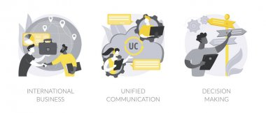 Enterprise communication abstract concept vector illustration set. Chatbot customer service, unified communication, decision making, e-commerce chatbot, problem solving, web chat abstract metaphor. icon