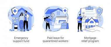 Governmental help abstract concept vector illustration set. Emergency support fund, paid leave for quarantined workers, mortgage relief program, financial support, risk insurance abstract metaphor. icon