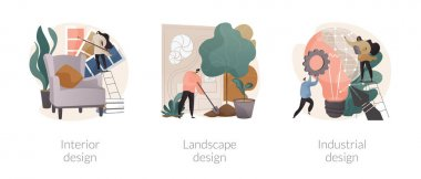 Design studio abstract concept vector illustration set. Interior and industrial design, landscape planning, decor ideas and tips, rooftop garden, product usability, architecture abstract metaphor. icon