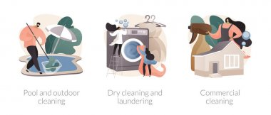 Laundry and cleaning facilities abstract concept vector illustration set. Pool and outdoor cleanup, laundry and dry cleaning, office maintenance, power washing, patio polishing abstract metaphor. icon